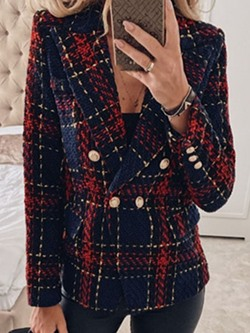 Plaid Double-Breasted Long Sleeve Mid-Length Women's Casual Blazer