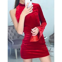 Stand Collar Above Knee Long Sleeve Women's Dress