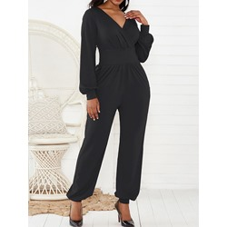 Plain Full Length Casual Slim Women's Jumpsuit