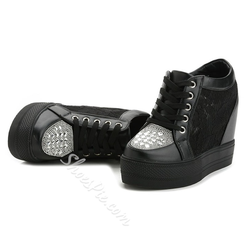 Shoespie Trendy Round Toe Low-Cut Upper Rhinestone Casual Sneakers