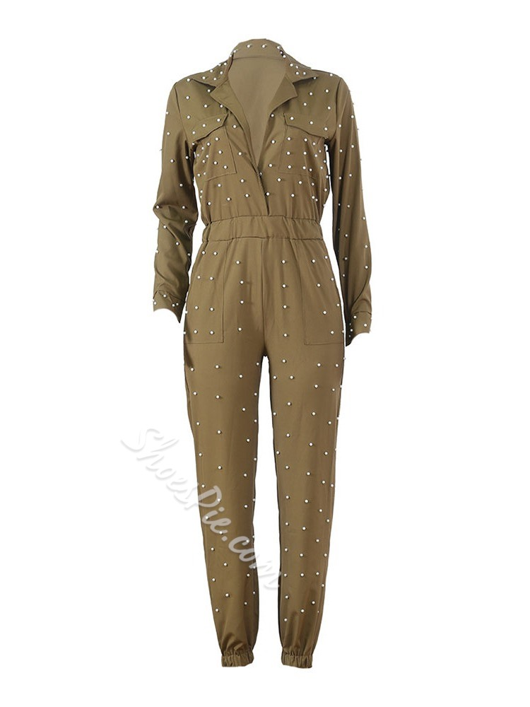 Full Length Bead Slim Women's Jumpsuit
