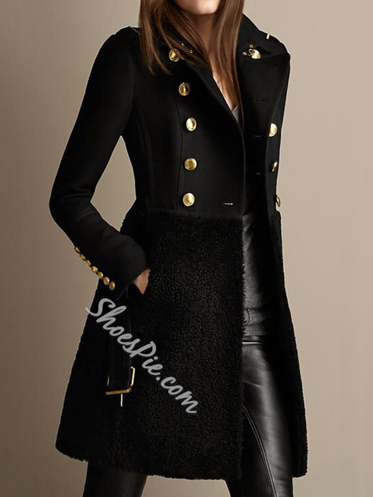 Double-Breasted A Line Patchwork Mid-Length Women's Overcoat