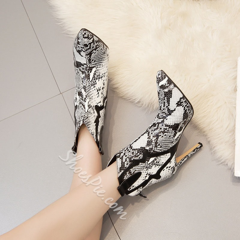 Shoespie Sexy Serpentine Back Zip Pointed Toe Western Boots