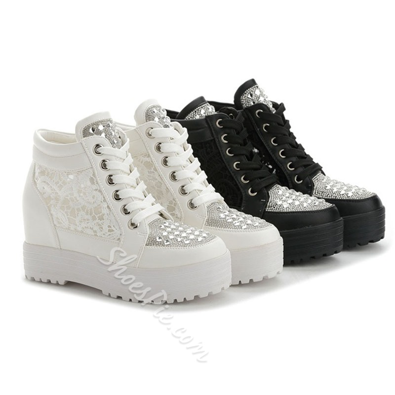 Shoespie Sexy Round Toe Lace-Up Rhinestone Casual Sneakers