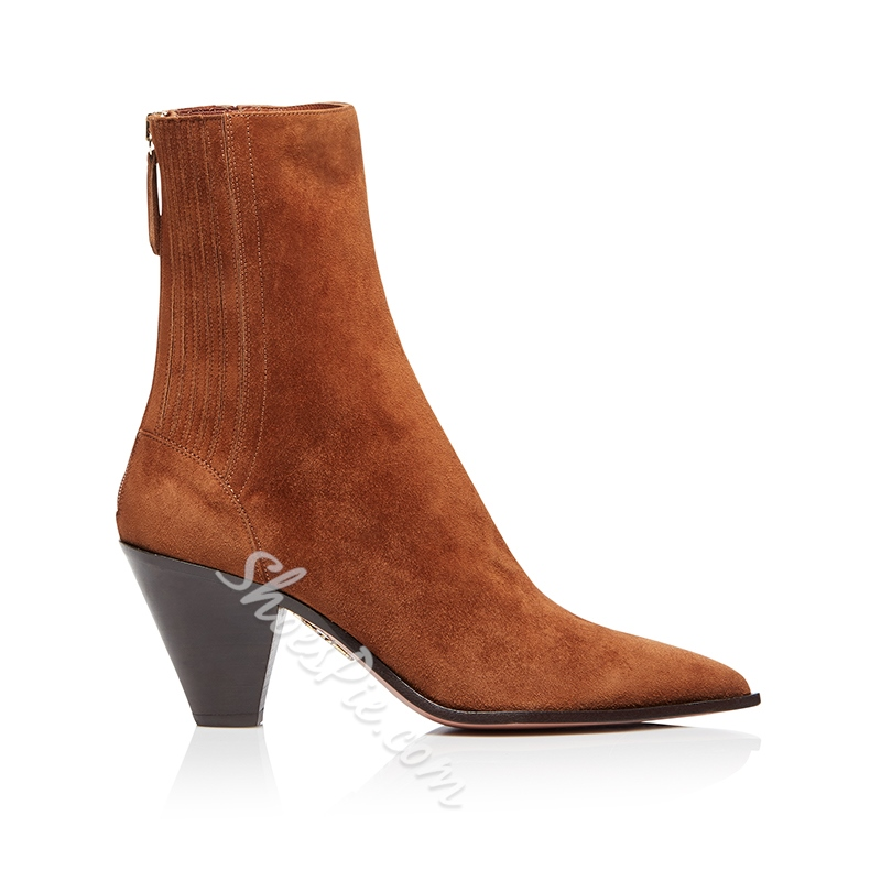 Shoespie Stylish Chunky Heel Pointed Toe Back Zip Casual Boots