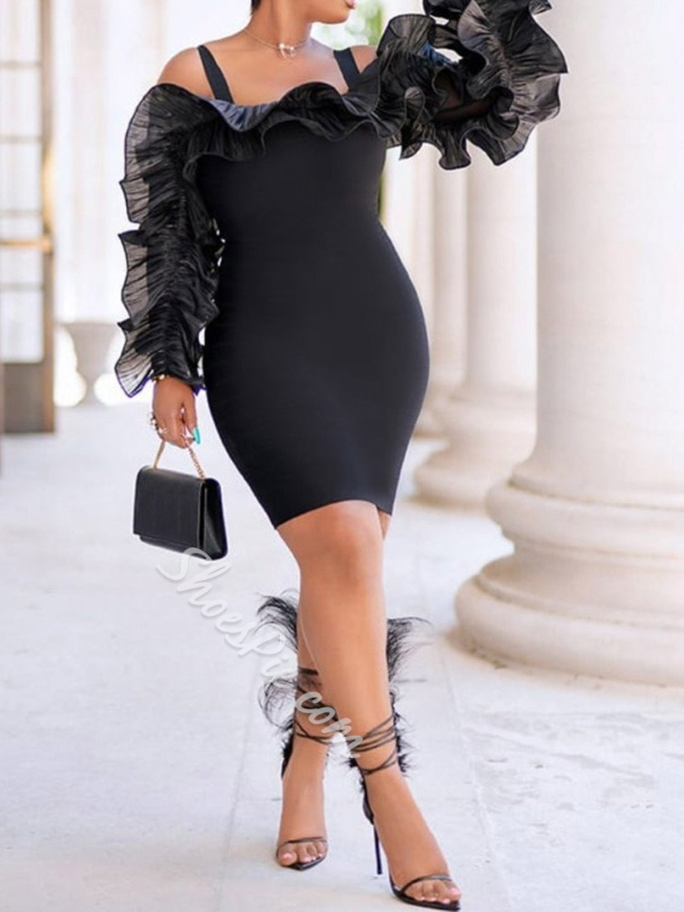 Long Sleeve Off Shoulder Above Knee Mid Waist Women's Dress