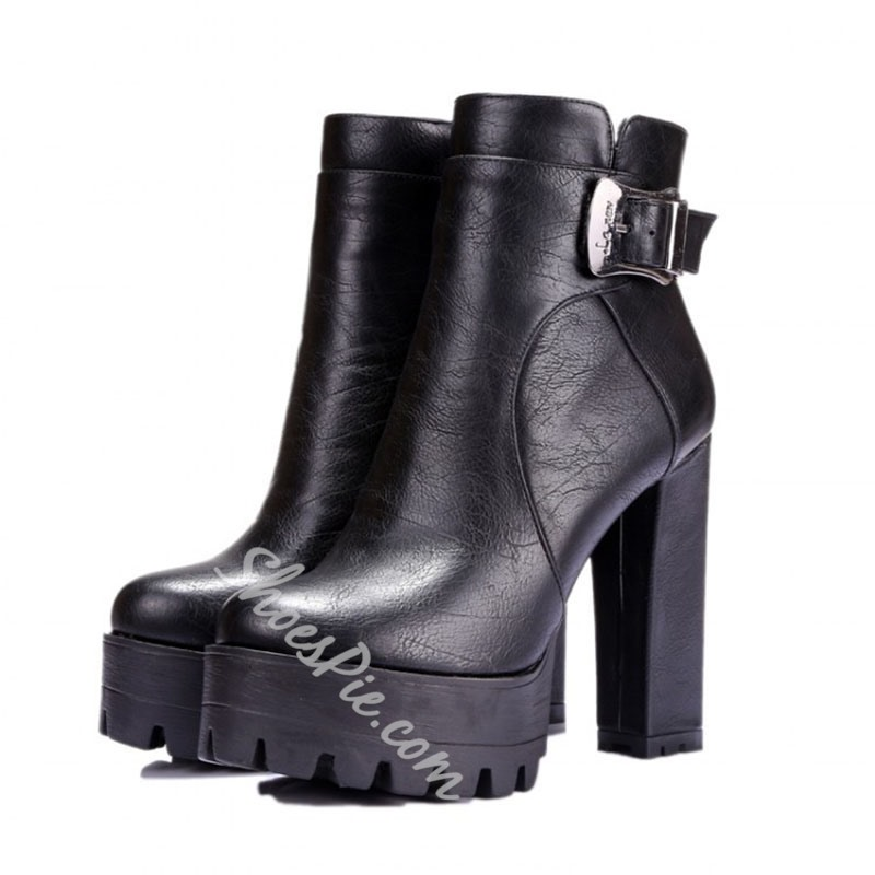 Shoespie Sexy Round Toe Plain Chunky Heel Western Boots