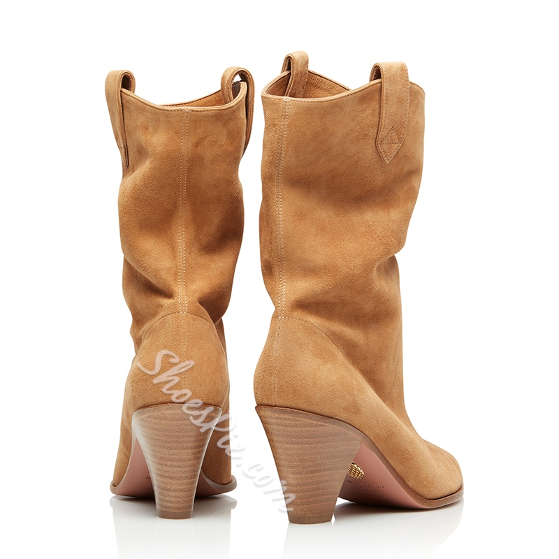 Shoespie Stylish Slip-On Pointed Toe Chunky Heel Fashion Boots