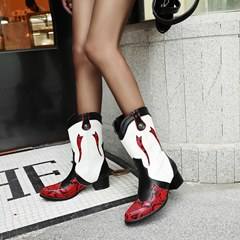 Shoespie Trendy Slip-On Color Block Round Toe Western Ankle Boots