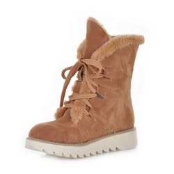 Shoespie Trendy Lace-Up Front Round Toe Casual Boots