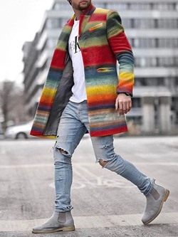 Mid-Length Color Block Casual A Line Coat