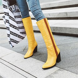 Shoespie Sexy Slip-On Pointed Toe Color Block Thread Boots