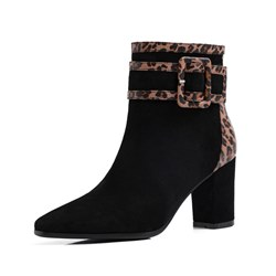 Shoespie Trendy Chunky Heel Side Zipper Pointed Toe Casual Boots