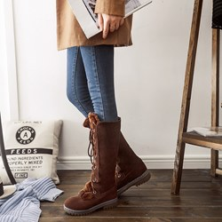Shoespie Stylish Lace-Up Front Plain Round Toe Thread Boots