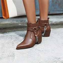 Shoespie Trendy Slip-On Chunky Heel Plain Thread Boots
