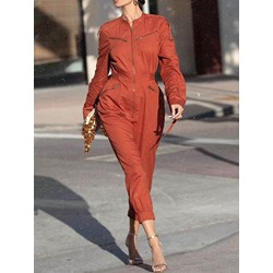 Ankle Length Plain Zipper Women's Jumpsuit