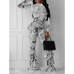 Casual Color Block Print High Waist Women's Jumpsuit