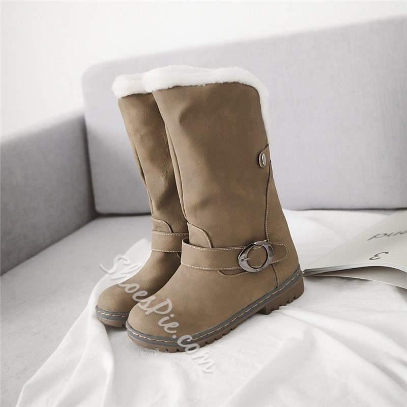 Shoespie Trendy Color Block Round Toe Slip-On Snow Boots