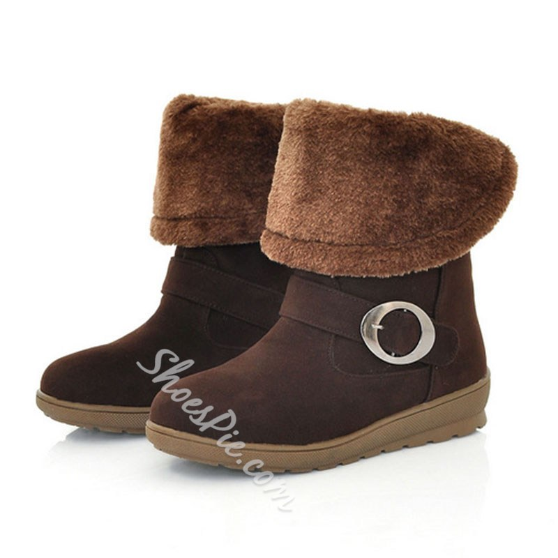 Shoespie Trendy Slip-On Plain Round Toe Thread Boots