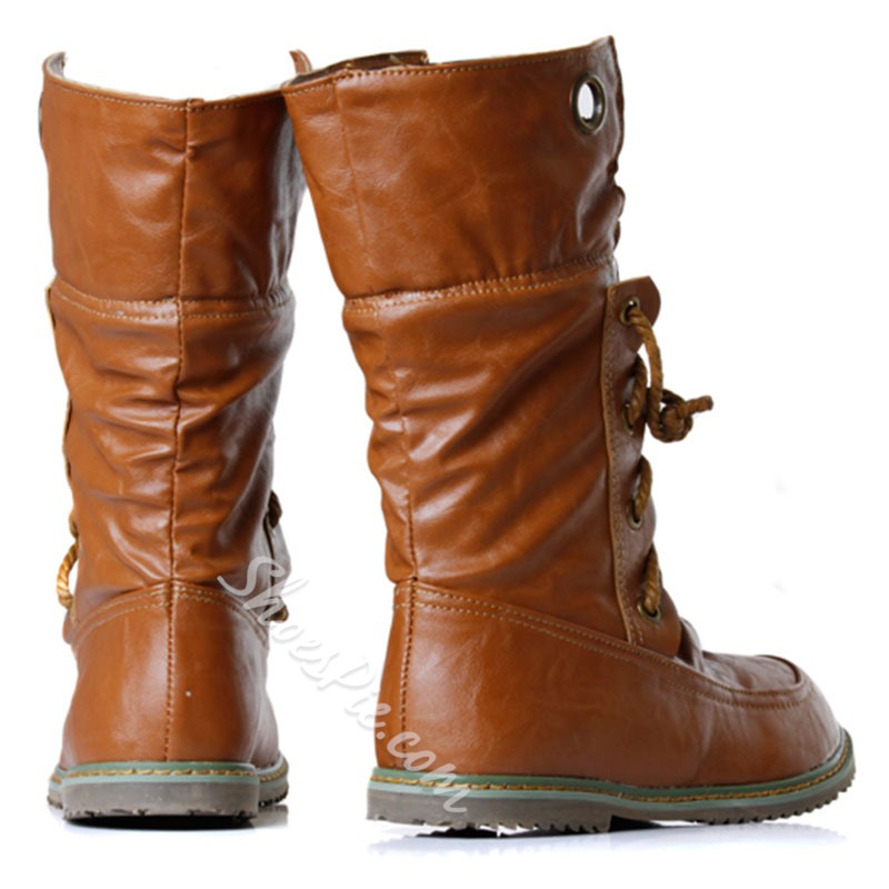Shoespie Trendy Color Block Round Toe Lace-Up Front Casual Boots