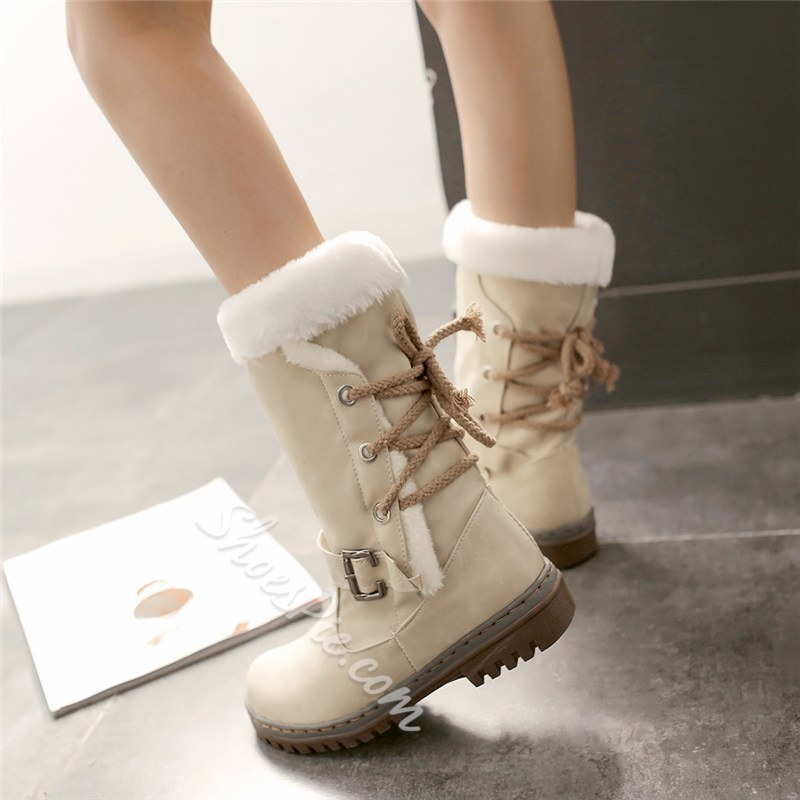 Shoespie Trendy Patchwork Lace-Up Back Round Toe Casual Boots