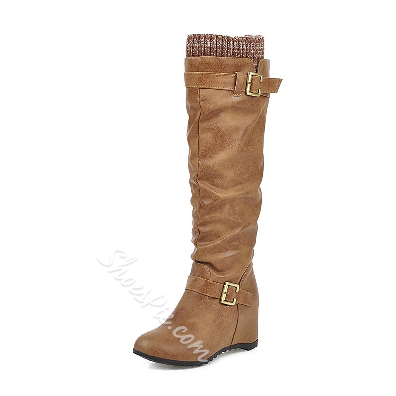 Shoespie Trendy Hasp Patchwork Round Toe Buckle Boots