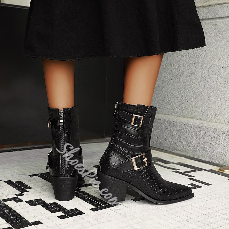Shoespie Stylish Pointed Toe Chunky Heel Plain Buckle Boots