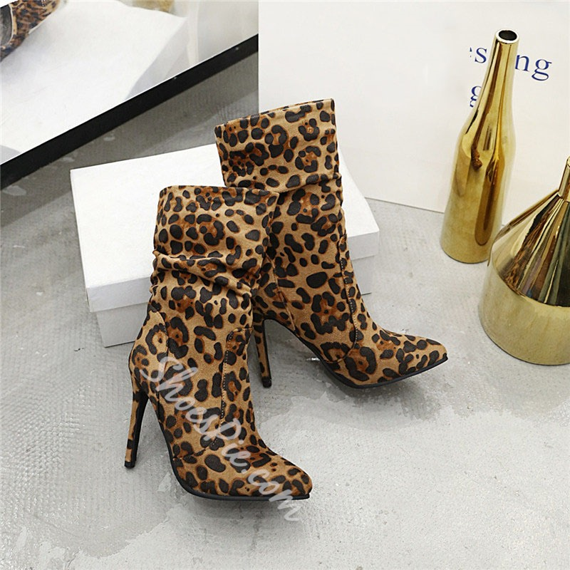 Shoespie Stylish Stiletto Heel Color Block Pointed Toe Casual Boots