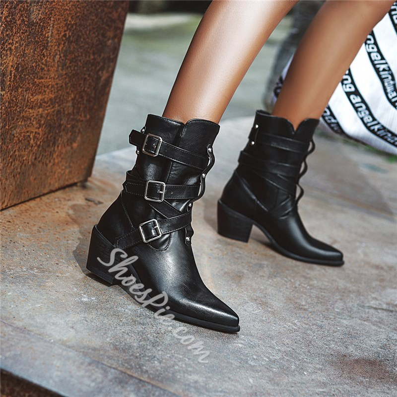 Shoespie Trendy Pointed Toe Hasp Plain Western Boots