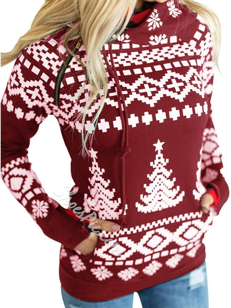 Christmas Regular Print Color Block Long Sleeve Women's Hoodie