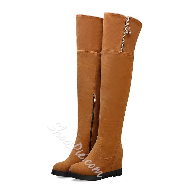 Shoespie Trendy Plain Wedge Heel Side Zipper Zipper Boots
