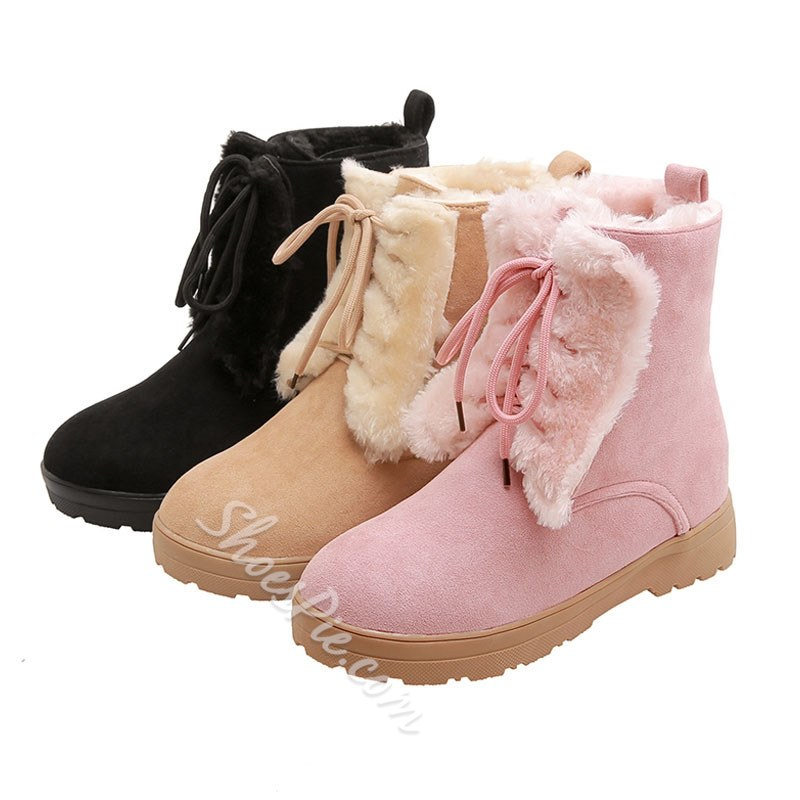 Shoespie Trendy Lace-Up Front Round Toe Block Heel Casual Boots