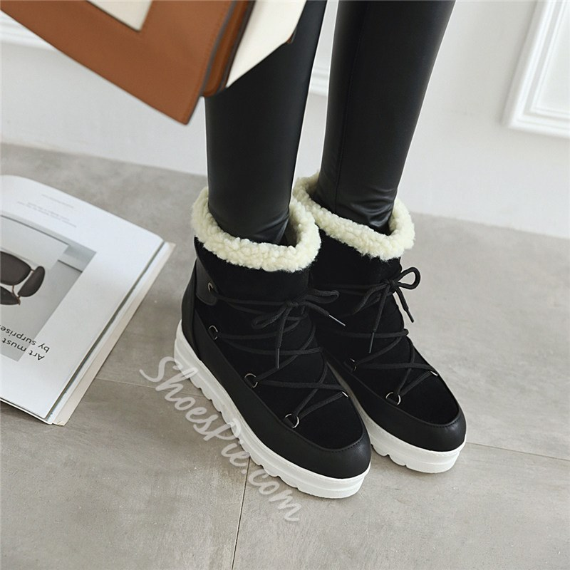 Shoespie Stylish Lace-Up Front Color Block Round Toe Thread Boots