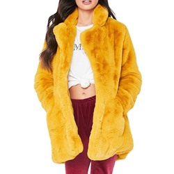Mid-Length Plain Wrapped Women's Faux Fur Overcoat