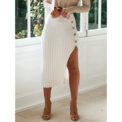Button Mid-Calf Bodycon Sexy Split Women's Skirt