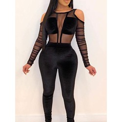 Patchwork Plain Sexy Slim See-through Women's Jumpsuit