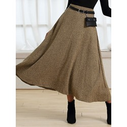 Mid-Calf A-Line Plain Elegant Women's Skirt