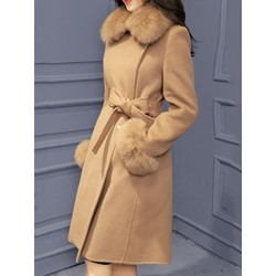 Slim Patchwork Hidden Button Winter Women's Overcoat