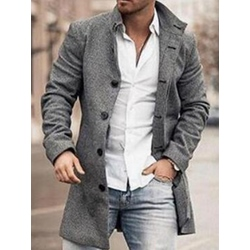 Plain Mid-Length Winter Straight Coat