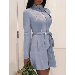 Mid-Length Lace-Up Stand Collar Long Sleeve Women's Trench Coat