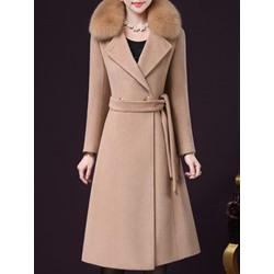 Patchwork Slim Double-Breasted Winter Women's Overcoat