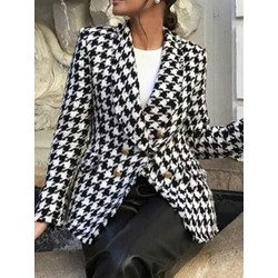 Long Sleeve Double-Breasted Plaid Standard Women's Casual Blazer