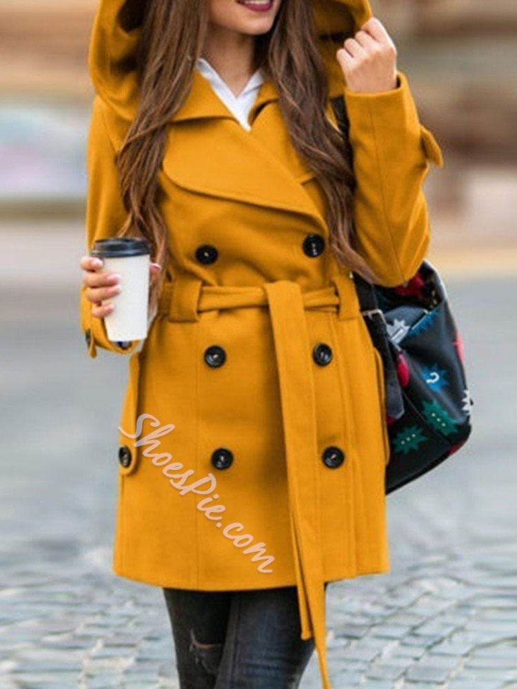 Button Double-Breasted Slim Hooded Women's Overcoat