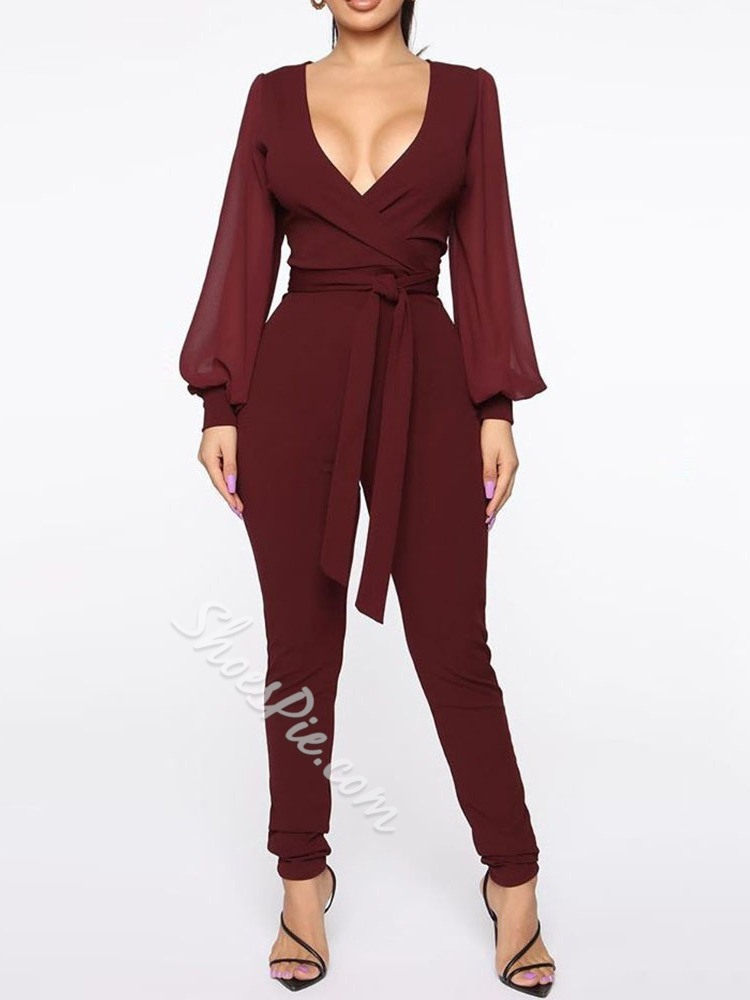 Sexy Full Length Patchwork Women's Jumpsuit
