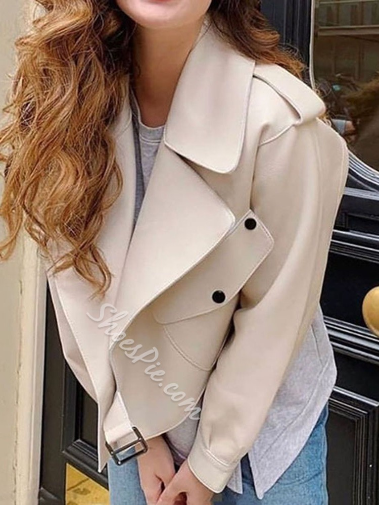 Faux Leather Short Straight Women's PU Jacket