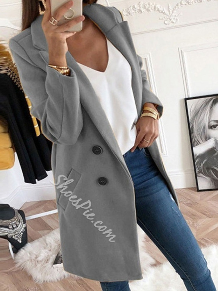 Plus Size Double-Breasted Slim Mid-Length Women's Overcoat