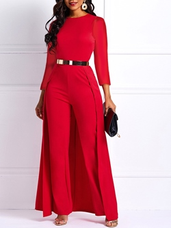 Office Lady Full Length Swallowtail High Waist Women's Jumpsuit