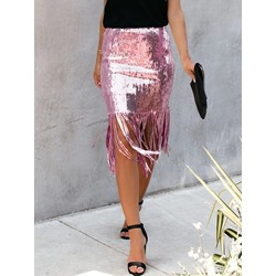 Patchwork Bodycon Mid-Calf Sexy Tassel Women's Skirt