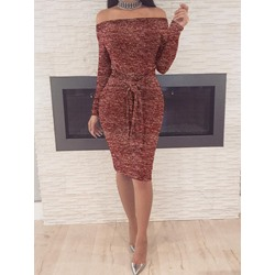 Long Sleeve Lace-Up Off Shoulder Women's Dress