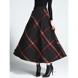 Color Block Expansion Mid-Calf Casual Women's Skirt